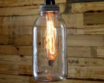Clear Half Gallon Anchor Hocking Mason Jar Pendant Light