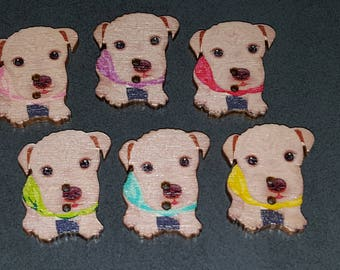 10 dog buttons, wooden buttons, dog wood buttons, children buttons, cake, fancy 28 buttons buttons x 21 mm