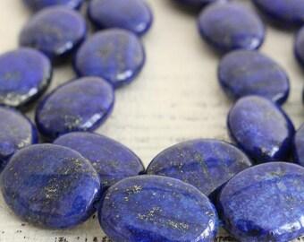 Flat Oval Lapis Lazuli Beads - Oval Gemstone Beads For Jewelry Making - Lapis Beads - 14x18mm Oval - Choose Amount