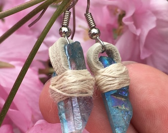 Baby Blue Flame Aura Quartz Crystal Earrings