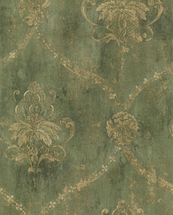 Gold Lattice And Floral Damask On Distressed Green Antiqued