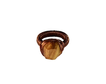 COPPER OLIVE RING - Wire Ring - Coopper ring - Women's Wood Ring - Beautiful wood and metal jewelry