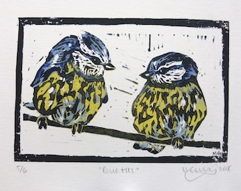 """Original, Unframed, Hand Pulled, Linocut Print Limited Edition - Blue Tits - 4""""x6"""" four colour reduction print on A5 Paper - lino ink paper"""