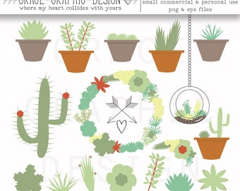 Succulent Clip Art, Instant download small commercial use or personal use clipart set