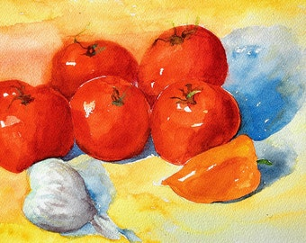 Kitchen art, fine art digital print  from my original watercolor painting vegetable still life 9 x 12 Luscious Tomatoes by Lauren Grant
