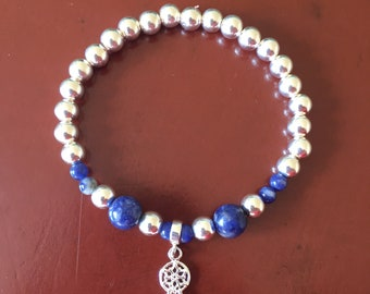 Sodalite and Sterling Silver Dreamcatcher Stretch Bracelet