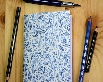 Small illustrated notebook - Blue Ink - pattern 1