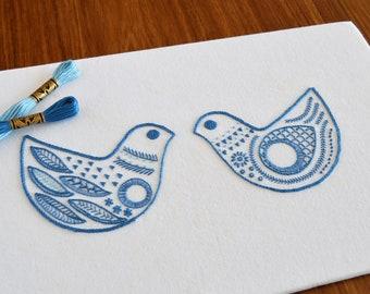 Scandi Birds hand embroidery pattern, modern embroidery, embroidery patterns, embroidery PDF, PDF pattern