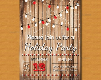 Holiday Party Invitation, Christmas Party, New Year's Eve Party Invite, Rustic Chic