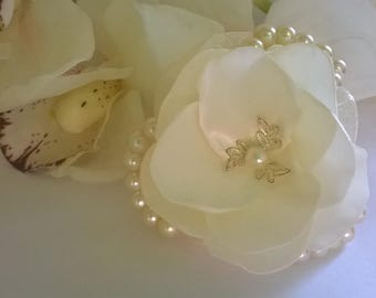 Satin Pearl and Chiffon Hair Flower, Bridal Hair Fascinator,Hair Flower, Bridesmaid Hair Fascinator, Mother of the Bride Hair Flower