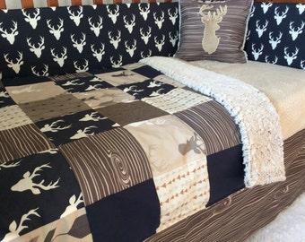 Crib or Toddler Bed Set -Woodland Nursery-  Navy, Tan, Brown Deer Crib Set - Baby Boy Bedding