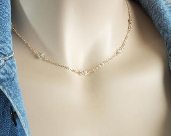 14k Solid Gold Layering Chain, White Topaz and Herkimer Diamond Necklace, 14k Solid Gold Topaz, Natural White Topaz and Herkimer Diamond
