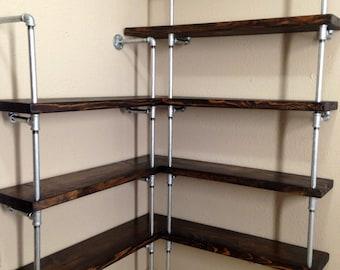 Corner shelving unit - Corner shelf - Pipe Shelving - Industrial shelf - Shelf - Closet shelving - Kitchen shelving - Retail shelving