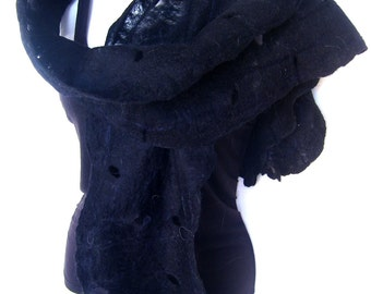 Black Felted Scarf, Cobweb, Lacy, Merino Wool, Long And Skinny, Gift For Her