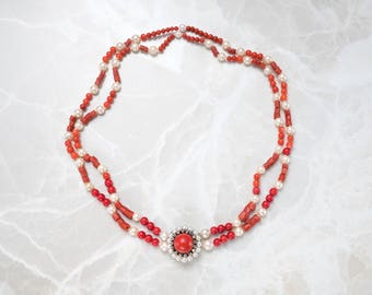 Coral and Pearl Necklace