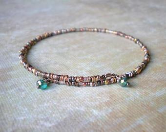 Bangle Bracelet Mixed Metal Beads Glass Bead Dangles