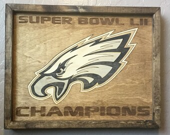 Philadelphia Eagles Super Bowl Champions -- 11x14 Solid Wood Inlay