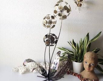 Vintage large dandelion sculpture mid century metal art statue pom flower rare tall brutalist Jere style retro flowers