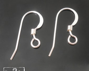 925 Sterling Silver 8.7x17mm 22ga Flat Earring Hooks With with Coil, 2mm Open Ring ID. Various Quantities - Bulk Wholesale Silver Earrings