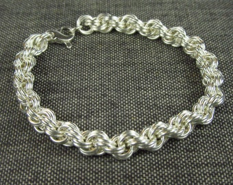 Sterling Silver Double Spiral Weave Chainmaille Bracelet