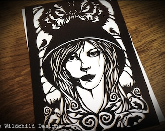 Little Red Riding Hood Paper Cutting Template Gothic Fairytale Wolf Tattoo Style Papercut Cut for Personal or Commercial Use Big Bad Wolf