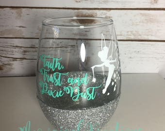 Disney Tinkerbell Wine Glass/ Peter Pan Wine Glass/ Fairy Wine Glass/ Disney Tinkerbell Cup/ Tinkerbell Glitter Wine Glass/ Godmother Gift