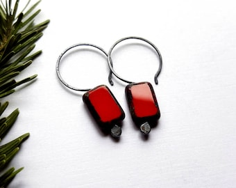 Red Bead Earrings - Minimalist Earrings - Everyday Earrings - Czech Glass Earrings Sterling Silver - Red Earrings Drop -  Rectangle Earrings