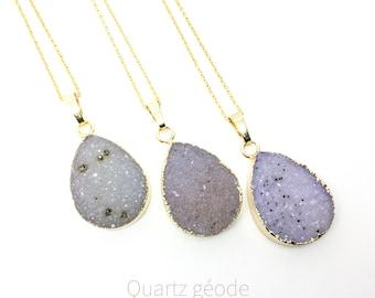Women's druzy quartz necklace, Raw crystal drop gold necklace, Grey quartz necklace, Boho layering necklace, Gift for women, WildCoastJewels
