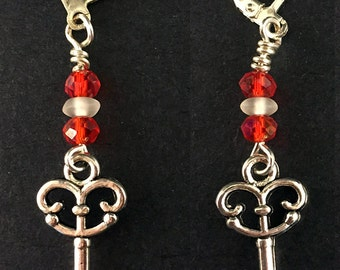 Antique Silver Skeleton Key Earrings with Red and Clear Swarovski Crystals, Skeleton Key Jewelry, Double-Sided Skeleton Key Earrings