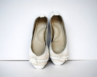 White leather and lace ballerina flat shoes custom made