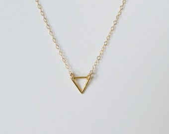 Tiny gold or silver open triangle necklace, minimal necklace, dainty gold geometric, layering small triangle, choker, gift for her