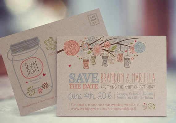 Mason jar save the date postcard eco friendly self mailing reheart Images