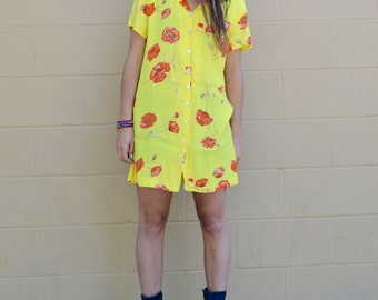 Vintage 90s POPPY FLOWER Bright Yellow DRESS with Shell Buttons Medium