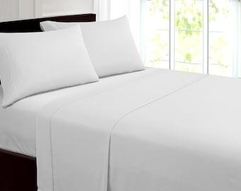 Extra Soft 100% Pima Cotton 4 Piece Sheet Set 350 Thread Count  Queen Size White