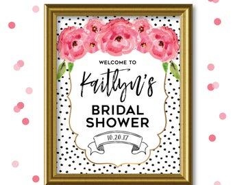 Custom Bridal Shower Welcome Sign - Wedding Shower Welcome Sign - Bridal Shower - Baby Shower Welcome Sign - Floral and Gold - DIGITAL FILE