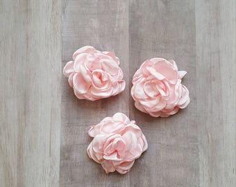 "2"" Satin Flower, Burned Edge flower, fabric flower, Singed Satin flower, DIY supplies, pink flower, satin Flower, Hair flower, baby pink"