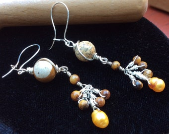 Jasper Dangle Earrings with Tigers Eye and Pearls - Sterling Silver-Filled Wire