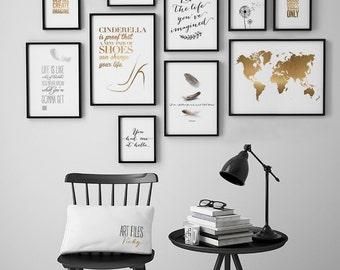 Wall art Prints, Set of 10 Prints, set of 10 art prints, Minimalist Prints, Black and White prints, housewarming gift, ArtFilesVicky