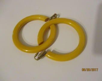 BAKELITE Butterscotch Hoop Earrings Clipon Bakelite Butterscotch Estate Earrings Vintage Estate Earrings 50s-60s Bakelite Earrings