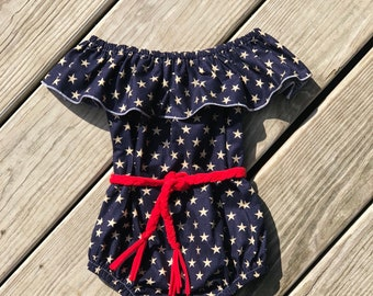 American flag baby girls bodysuit / toddler patriotic outfits / 4th of July outfits / newborn romper / summer bodysuits / navy star bodysuit