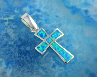 blue opal silver cross pendant, silver cross, cross with blue opal, cross pendant, cross with opal