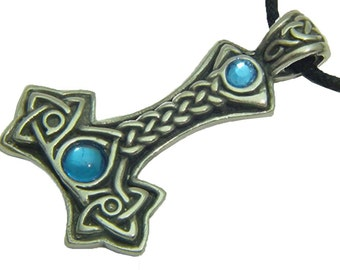 Pewter Thors Hammer with Blue Celtic Norse Viking Pendent 3878C