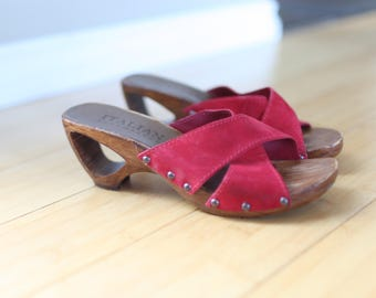 vintage red leather italian shoemakers wooden clogs sandals womens 6 1/2