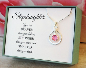 Gift for Stepdaughter necklace 925 Sterling Silver infinity birthstone necklace  Birthday Gift Christmas gifts You are braver than you think