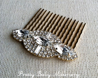Gold hair Comb, Art Deco hair comb, Art Deco hair accessories, Gold Bridal Hair Comb, bridal comb crystal rhinestone GOLD NAVETTE MED