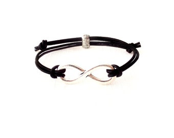 Leather Bracelet - Adjustable - Greek Leather - Black, Silver - The Basics: Infinity