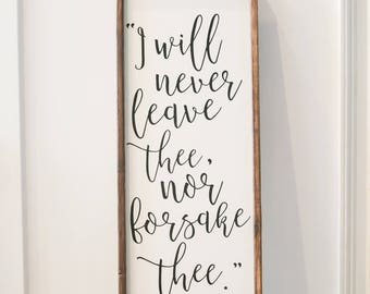 I Will Never Leave Thee - Hebrews 13 - Scripture Sign - Wood Sign