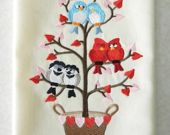 Valentine's Day Tweet Embroidered on Hand Towel or Tea Towel
