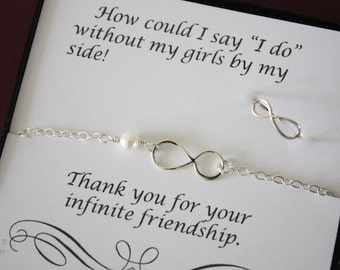 5 Infinity Bridesmaid Gift Sets, Infinity Ring, Infinity Bracelet, Bracelet and Ring Set, Sterling Silver, Card, Mother Gift, Daughter Gift