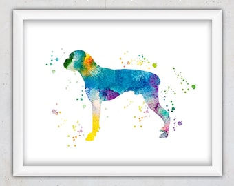 Boxer Print, Dog Wall Art Print, Nursery Watercolor Art, Kids Animal Art, Nursery Printable, Instant Download Digital Print, Blue Dog Print